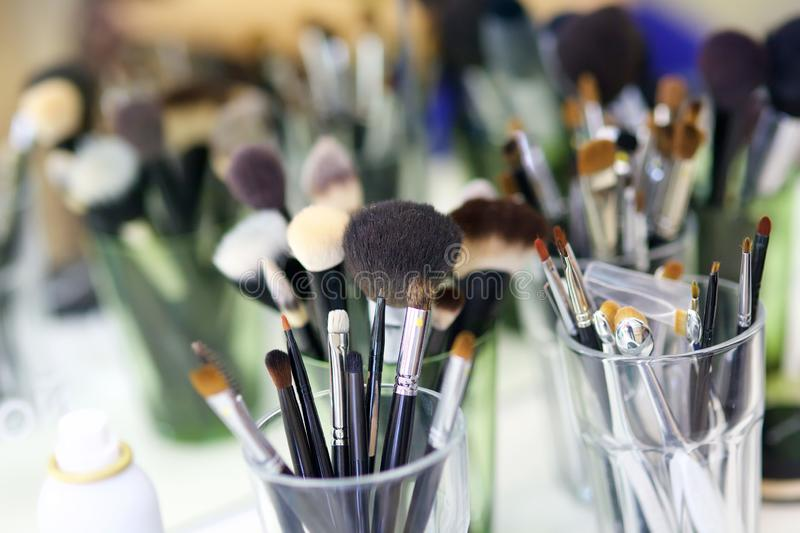 Make up brushes of different sizes stock photos