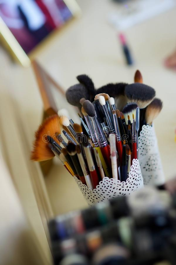 Make up brushes of different sizes royalty free stock images