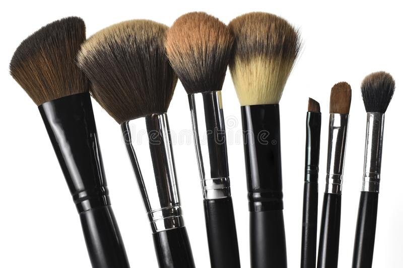 Make-up brushes isolated on white background royalty free stock images