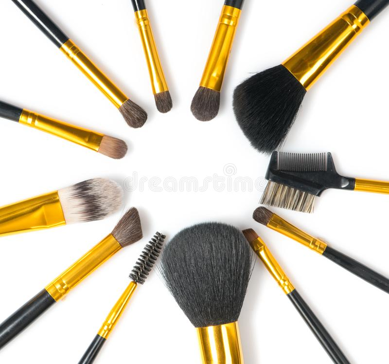 Make-up Brushes set over white background. Various Professional makeup brush on white in studio. Make up artist tools. Flatlay. Top view, flatlay backdrop stock images