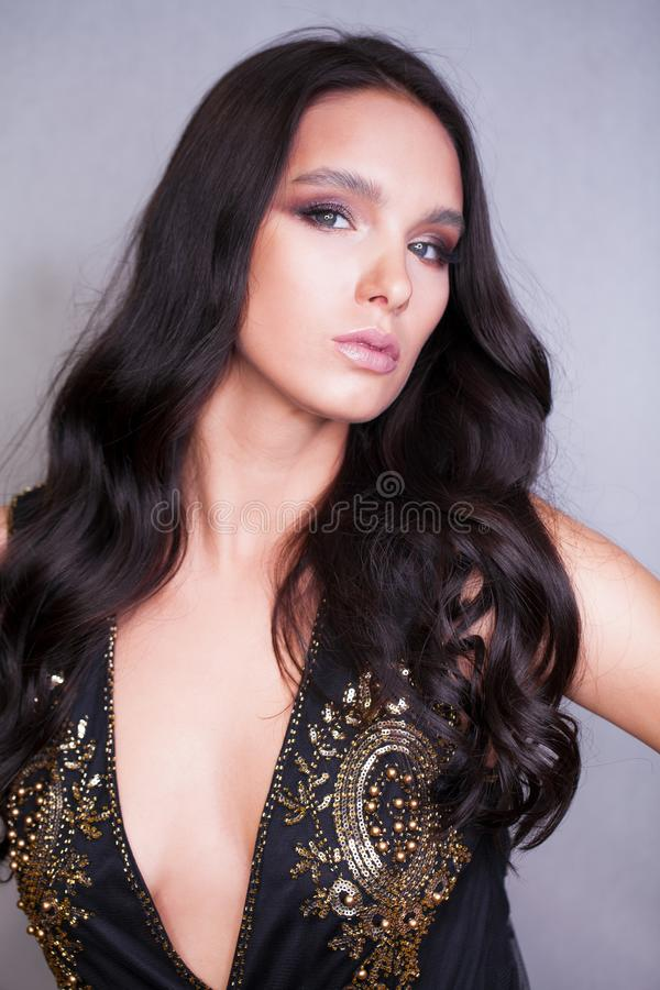 Make up. Closeup portrait of a beautiful brunette woman stock image