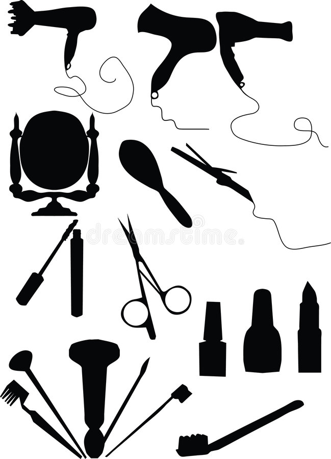 Make-up and coiffure set vector illustration