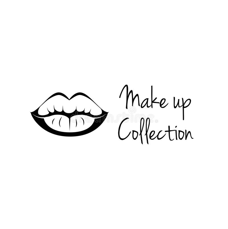 Make Up Collection. Monochrome black and white lips line art vector royalty free illustration