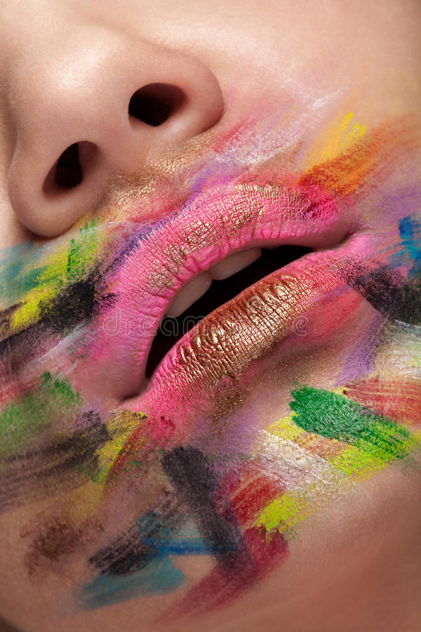 Make up and colors. Painted lips in different colors royalty free stock images