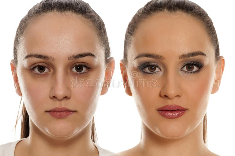 Before and after make up. Comparative portrait of a female face, before and after makeup on a white background stock image