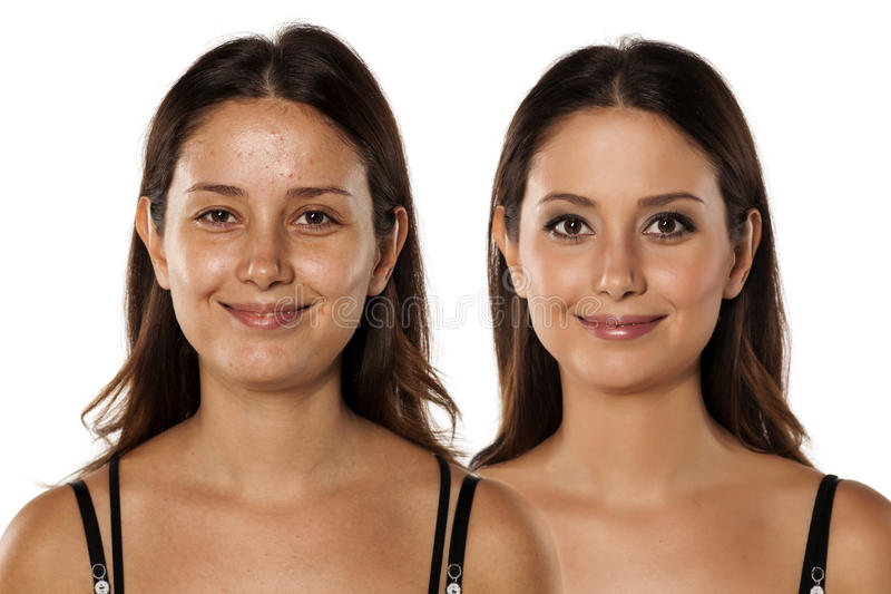 Before and after make up. Comparative portrait of the same woman, with and without makeup stock images
