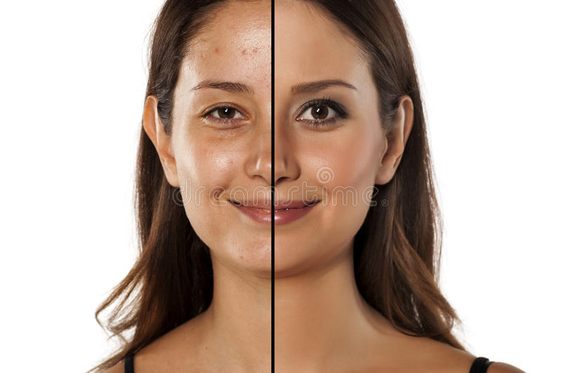 Before and after make up. Comparative portrait of the same woman, with and without makeup royalty free stock photo