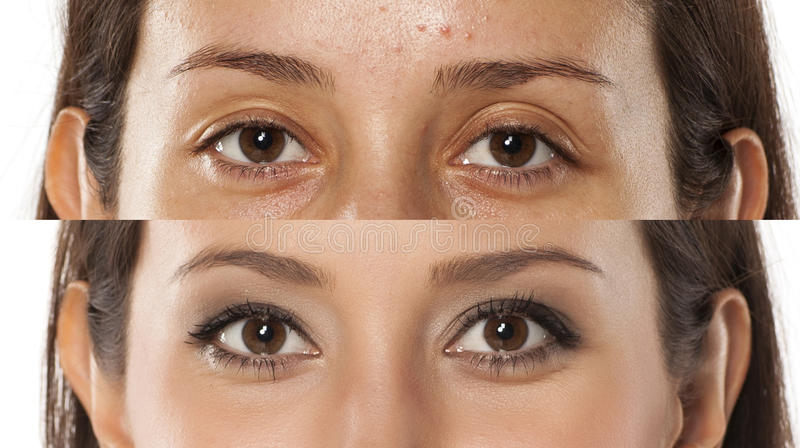 Before and after make up. Comparative portrait of the same woman, with and without makeup stock image