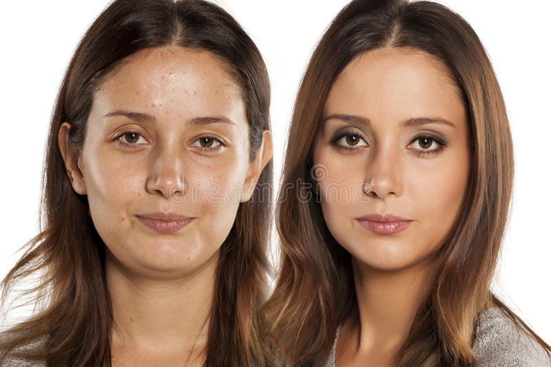 Before and after make up. Comparative portrait of the same woman, with and without makeup stock photography