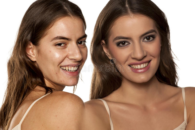 Before and after make up. Comparative portrait of the same woman, with and without makeup stock photos