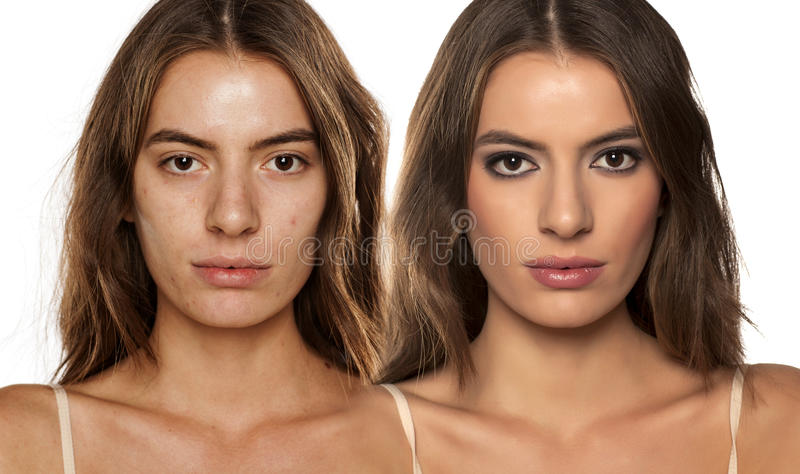 Before and after make up. Comparative portrait of the same woman, with and without makeup royalty free stock photos