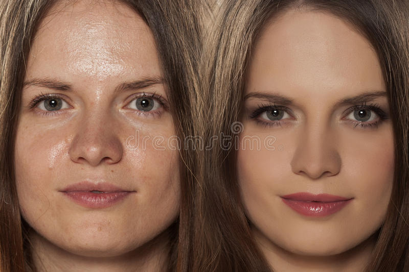 Before and after make up. Comparative portrait of a woman with and without makeup royalty free stock image
