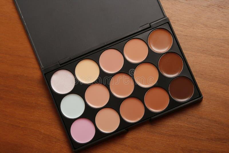 Make up concealer. Make up pallet of different colors concealer royalty free stock photography