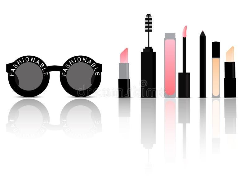 Make up Cosmetic on Fashion Black Sunglasses Background Vector Illustration. On White royalty free illustration