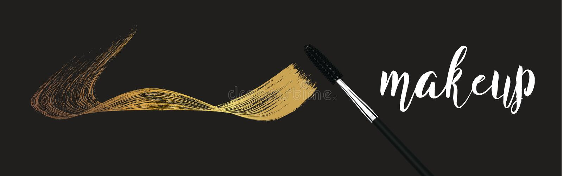 Make-up cosmetic golden mascara brush stroke on white. Vector mascara gold smear.  vector illustration