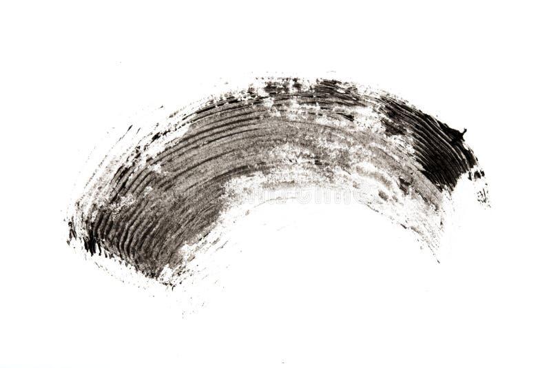 Make-up cosmetic mascara brush stroke texture design isolated on white.  stock photography