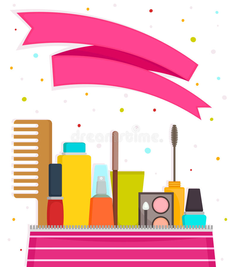 Make up and cosmetic products. Vector illustration with a text space. Cosmetic products. Vector banner illustration royalty free illustration