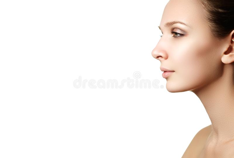 Make-up cosmetics. Closeup portrait of beautiful woman model f royalty free stock images