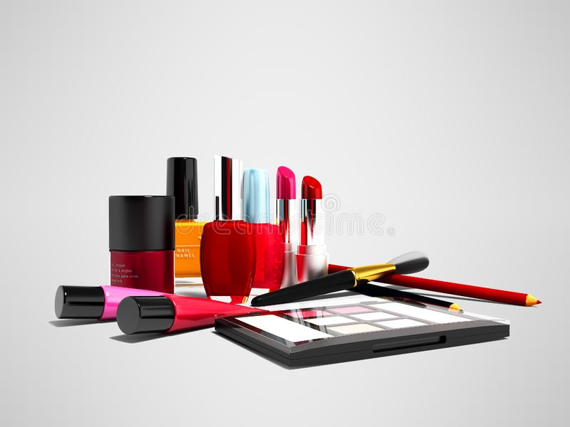 Make up cosmetics for girl 3d render on gray background with shadow royalty free illustration