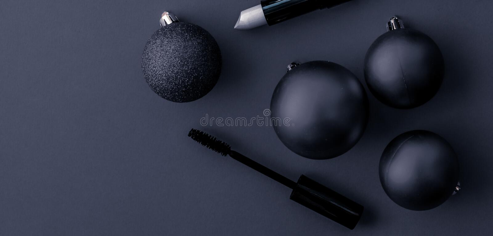 Make-up and cosmetics product set for beauty brand Christmas sale promotion, luxury black flatlay background as holiday design. Cosmetic branding, fashion blog royalty free stock images