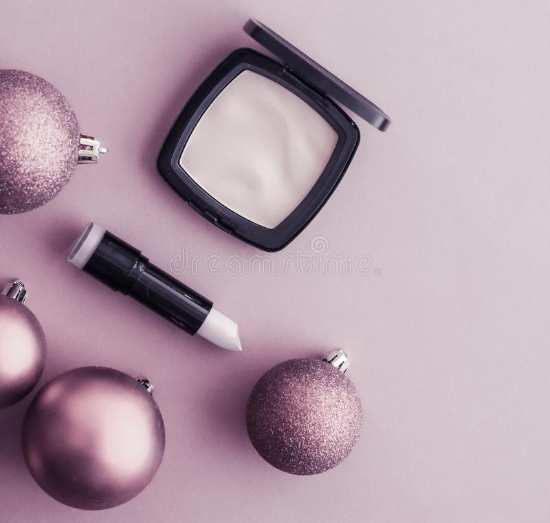 Make-up and cosmetics product set for beauty brand Christmas sale promotion, luxury purple flatlay background as holiday design royalty free stock photo