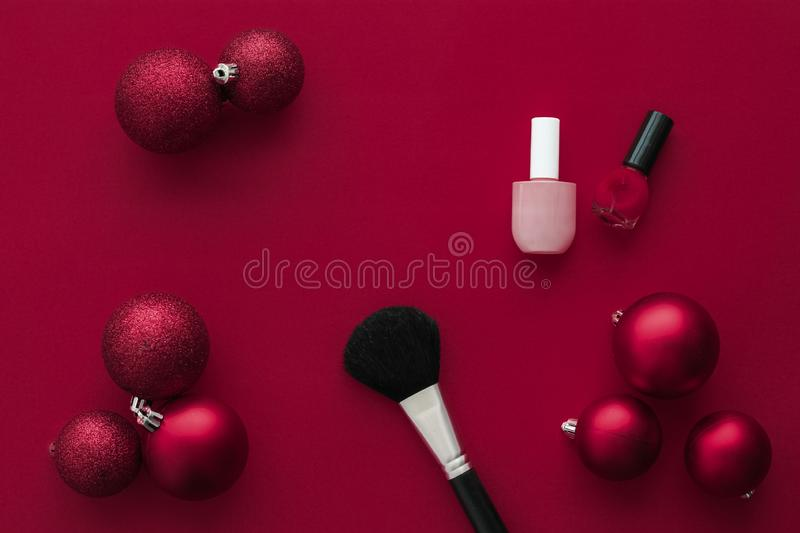 Make-up and cosmetics product set for beauty brand Christmas sale promotion, luxury wine flatlay background as holiday design. Cosmetic branding, fashion blog royalty free stock photos