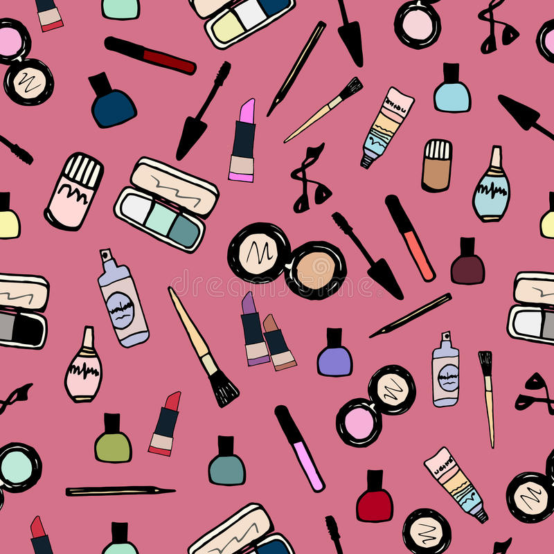 Free Make-up Cosmetics Seamless Pattern Color Royalty Free Stock Image - 62861066