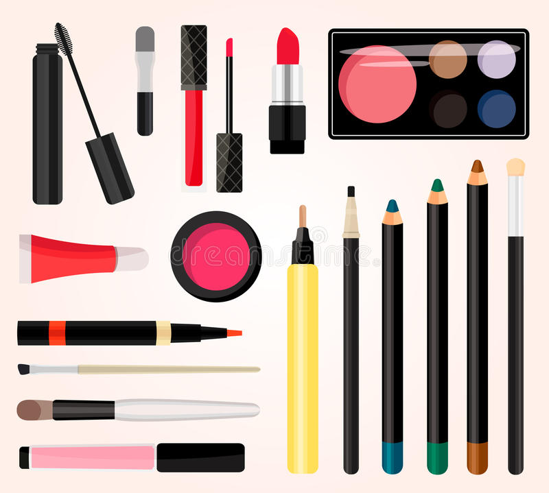 Make up cosmetics. Vector illustration. Flat style. stock photo