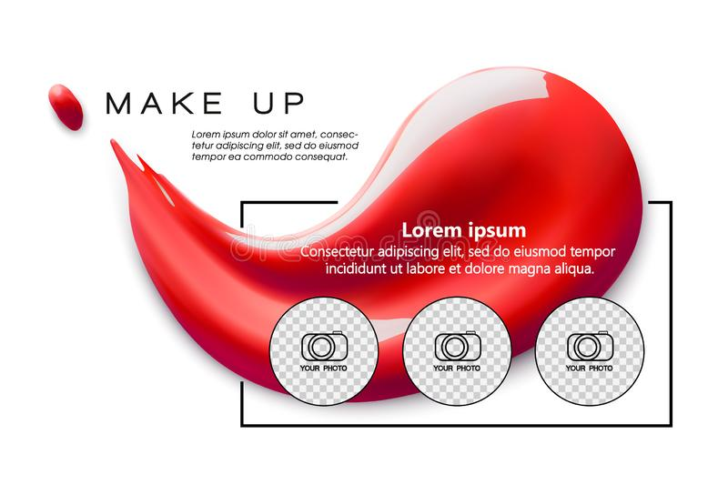 Make up design flyer template for cosmetic artist, makeup studio or cosmetics shop. Lipstick smudge. Site header. Business card, brochure and flyer. Foundation vector illustration