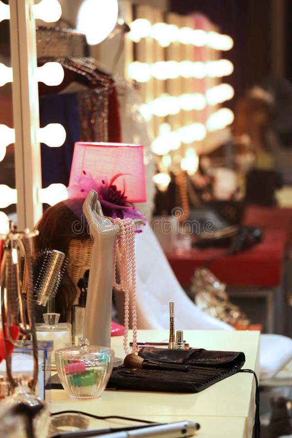 Make-up desk in backstage room royalty free stock photography