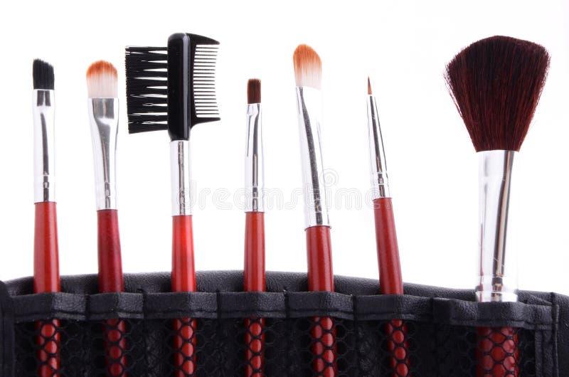 Make up equipment, isolated on white background. Set of cosmetic brushes isolated on white background stock photography