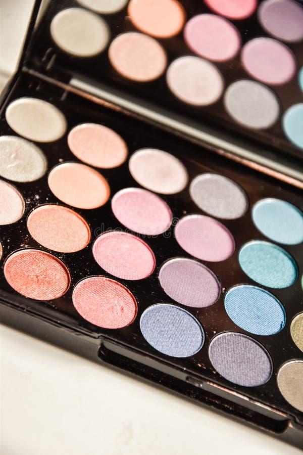 Make up eyeshadow cosmetics palette brush royalty free stock photo