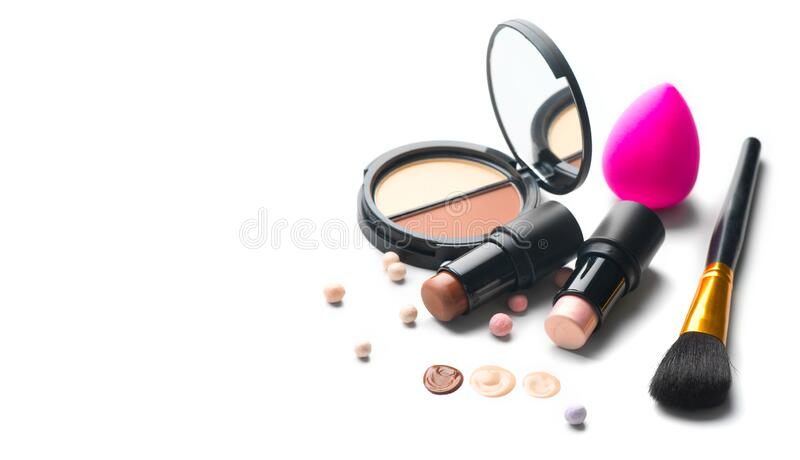 Make-up. Face contouring make up, contour. Highlight, shade, blend. Makeup Products, make up artist tools. Foundation, concealer royalty free stock photos
