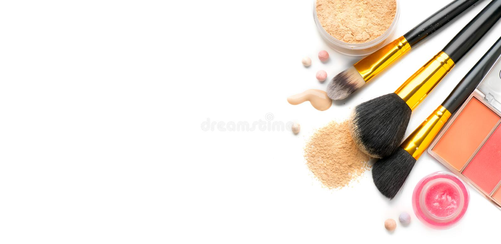 Make-up. Face contouring make up, contour. Highlight, shade, blend. Makeup Products, make up artist tools. Foundation, concealer royalty free stock photography