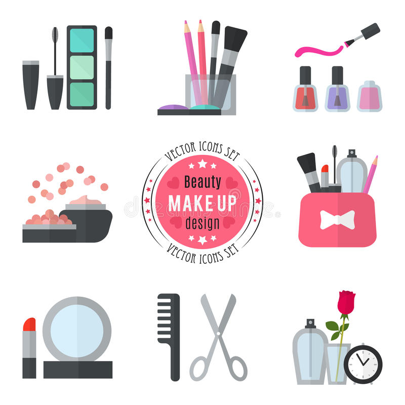 Make up flat icons. Vector illustration. For cosmetic design. Beauty style on white background. Make-up artist objects. Makeup accessories for pretty woman royalty free illustration