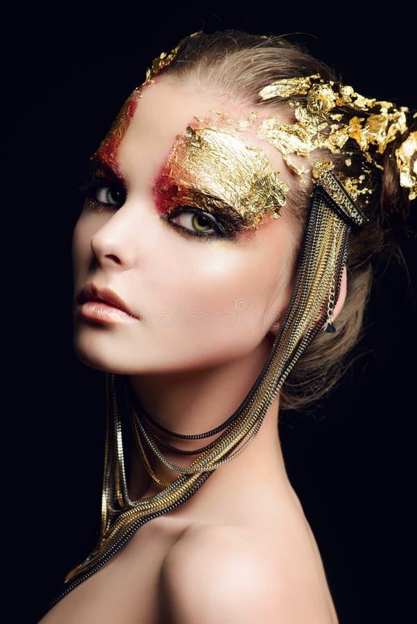 Make-up golden stockfoto