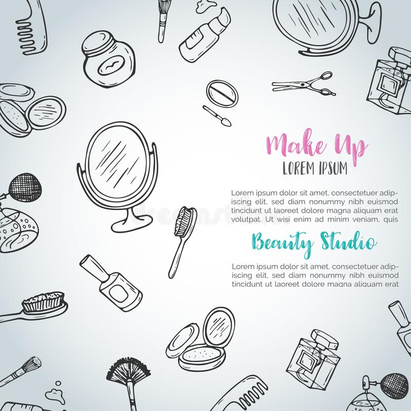 Make up hand drawn background. Doodle beauty items. Collection of brushes, nail polishes, lipsticks. Vector illustration vector illustration