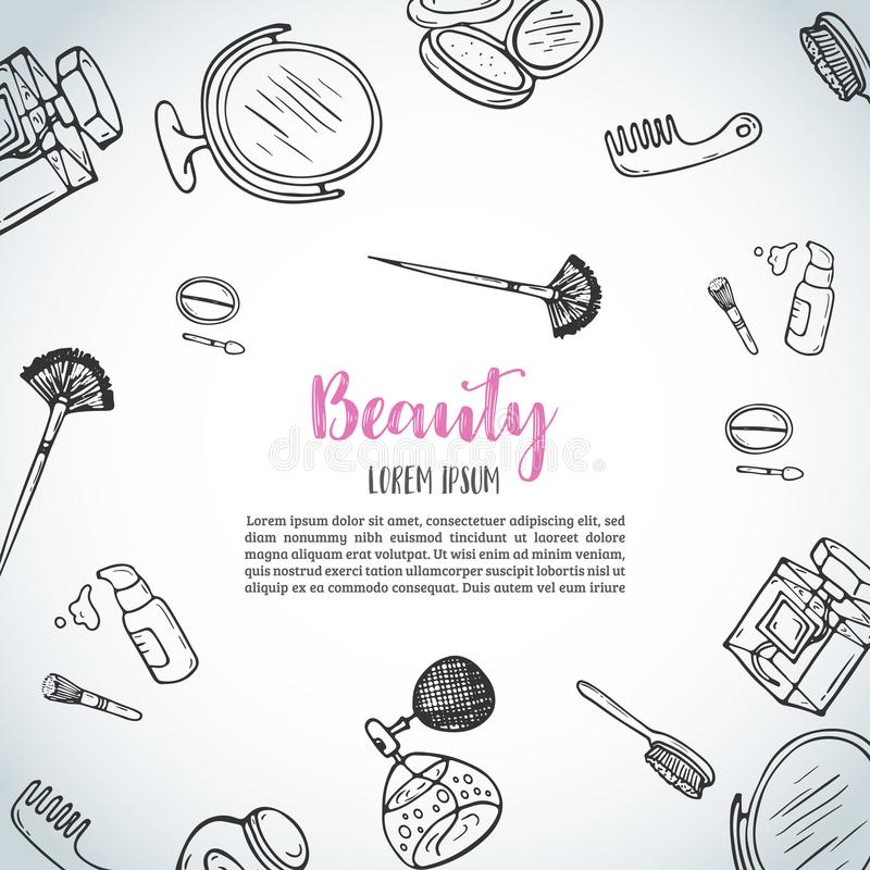 Make up hand drawn background. Doodle beauty items. Collection of brushes, nail polishes, lipsticks. Vector illustration stock illustration