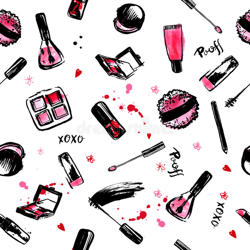 Make Up Hand drawn seamless pattern. fashion style cosmetics with nail polish, lipstick, mascara, brush, lip gloss. Pink vector illustration
