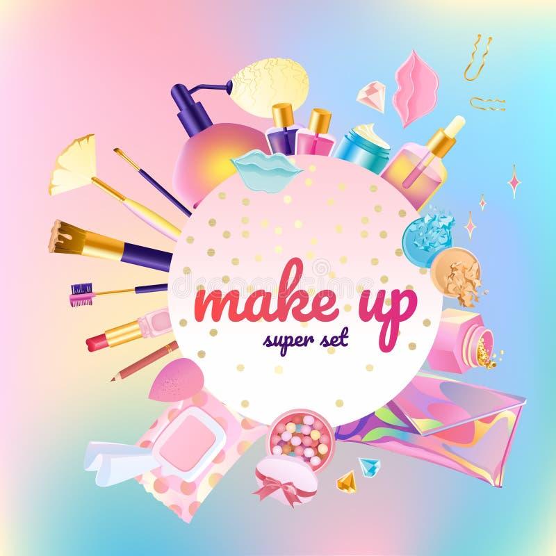 Make-up kosmetische super reeks royalty-vrije illustratie