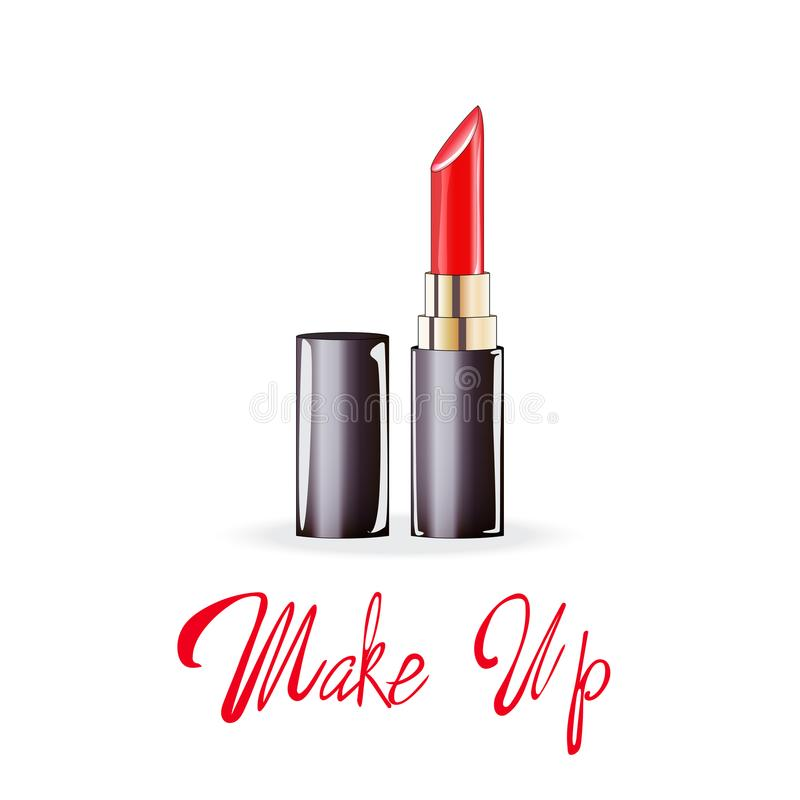 Make up lettering, Red lipstick, vector isolated illustration on white background royalty free illustration
