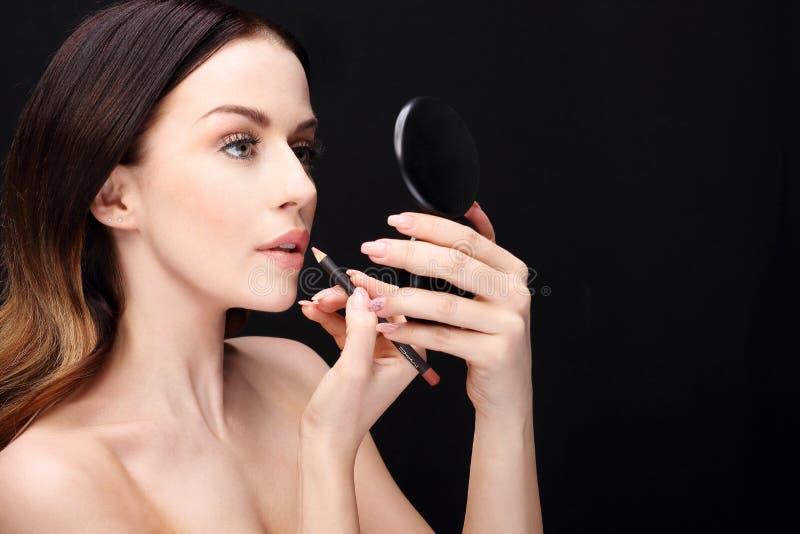 Make-up, lippenmake-up stock foto