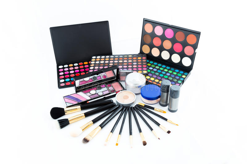 Make-up palettes and brushes stock photo