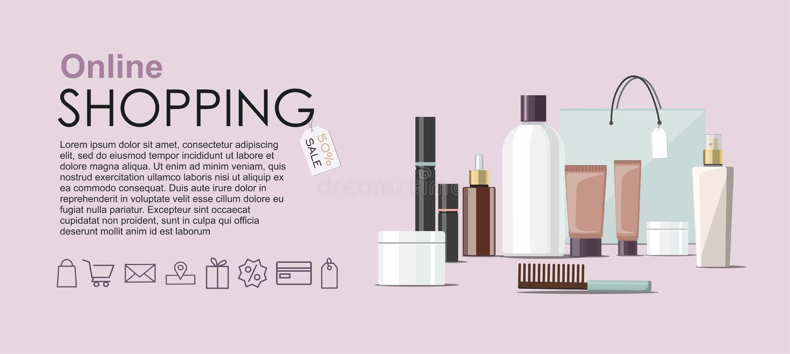 Make Up products and Skincare Packaging  with cosmetic bag. Online shopping web banner stock illustration