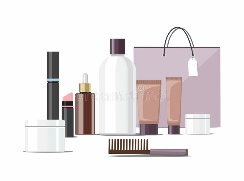 Make Up products and Skincare Packaging  with cosmetic bag Template. vector illustration