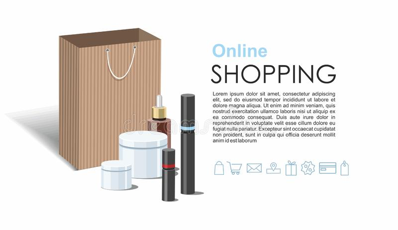 Make Up products and Skincare Packaging with craft wrapped gift box. Online shopping web banner royalty free illustration