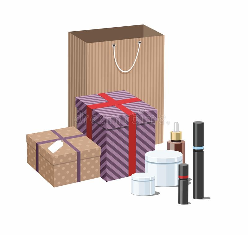 Make Up products and Skincare Packaging with craft wrapped gift boxes. 3D royalty free illustration