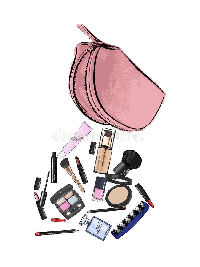Make up products spilling out of a cosmetics bag and isolated on vector illustration