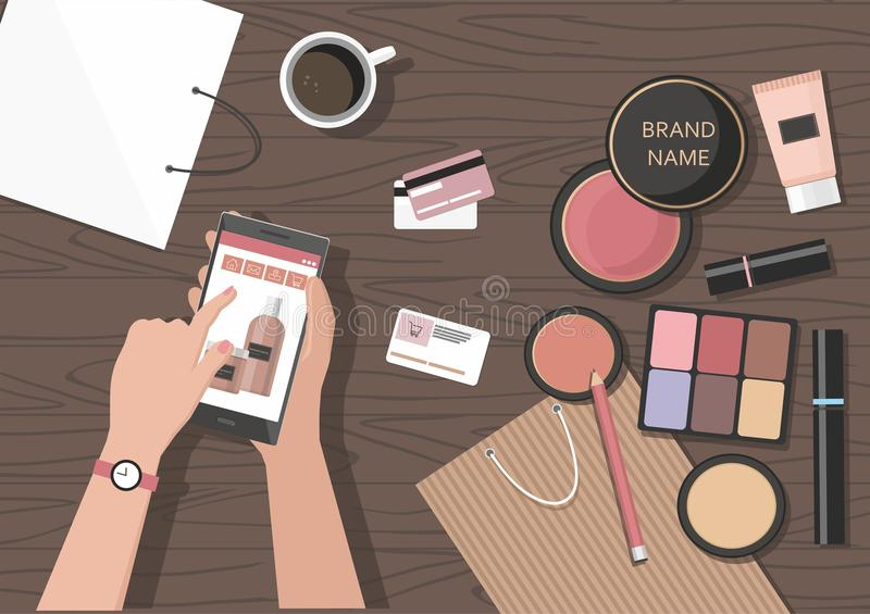 Make-up products on the table. Online beauty shop. vector illustration