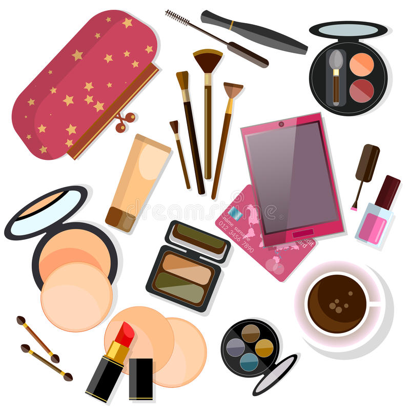 Make-up products on white vector illustration